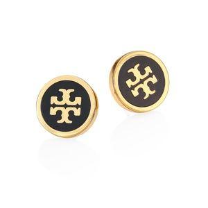 Tory Burch black circle lacquered logo earrings